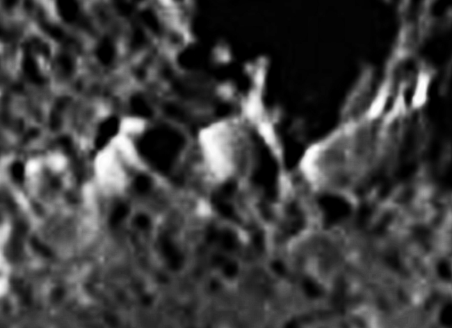 Iapetus Cassini crater with sharpening and extra contrast